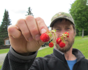 Chaz has insider knowledge of where to find berries on the property.